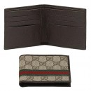 Brun Gucci Bi-plis Signature Web Portefeuille Shop France
