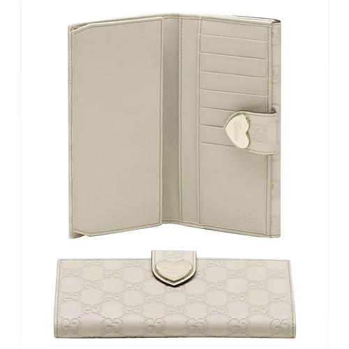 72a8b747c68 Blanc Gucci Continental Portefeuille Gravé Le Détail De Coeur Pas Cher De  Marque